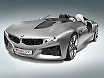 2012 BMW Vision ConnectedDrive concept sports car isolated on gray blue background with clipping path