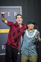 "Turtle Bay Resort, North Shore, Oahu, Hawaii. (Tuesday December 6, 2016): Mason Ho (HAW) and Keoni ""Cheeseburger"" Nozaki (HAW) after wining the Best Web Clip. the annual Surfer Poll Awards were held tonight at the Turtle Bay Resort with the new world champion John John Florence (HAW) taking out the #1 spot on the Men's Reader Poll and Carissa Moore (HAW) #1 on the women's poll. Photo: joliphotos"