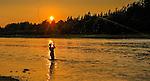 Miramichi River, New Brunswick. Trout fishing at sunset.