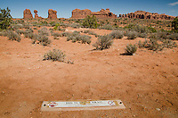 'This is not a trail' Sign near Balanced Rock, Arches National Park, Utah, US