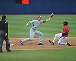 Ole Miss' Andrew Mistone (25) is caught stealing vs. Houston at Oxford-University Stadium in Oxford, Miss. on Sunday, March 11, 2012. Ole Miss won 11-3 to sweep the three-game series.