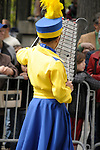 Greek Parade in New York City. A girl in a high school marching band plays the xylophone in the Greek Parade in New York City.