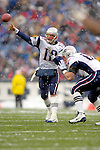 New England Patriots quarterback Tom Brady make a foward pass against the Buffalo Bills at Ralph Wilson Stadium in Orchard Park, NY, on December 11, 2005 . The Patriots defeated the Bills 35-7. Mandatory Photo Credit: Ed Wolfstein