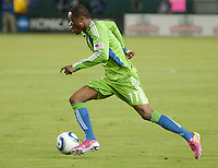 CARSON, CA – NOVEMBER 7:  Seattle Sounders midfielder Steve Zakuani (11) during a playoff soccer match at the Home Depot Center, November 7, 2010 in Carson, California. Final score LA Galaxy 2, Seattle Sounders 1.