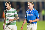 St Johnstone v Celtic...07.05.14    SPFL<br /> Paddy Cregg walks off with Anthony Stokes at full time<br /> Picture by Graeme Hart.<br /> Copyright Perthshire Picture Agency<br /> Tel: 01738 623350  Mobile: 07990 594431