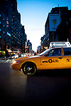 New York Cab in downtown NY at dusk on street