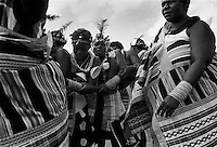 "IPLM0025 , South Africa, Venda, June 2001. Young ""maidens"" take part in the Domba dance. The domba is part of an initiation process, some already have children though traditionally they are meant to be virgins."