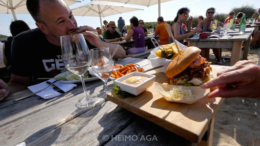 Sylt, Germany. Rantum. Sansibar.<br /> Sansibar special Burger. Burger vom Livar Klosterschwein (Pulled &amp; Smoked) mit Meerettich.
