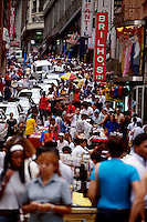 Population and commerce, crowded street in downtown Sao Paulo, Brazil.