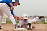 Nyssa first baseman Boo Cruickshank tags out Vale's Josh Morcom as he slides back into first base during the first game of a doubleheader between Vale and Nyssa on April 15, 2011. Morcom went 2 for 3 with a double and a run as Vale won the game 4-1.