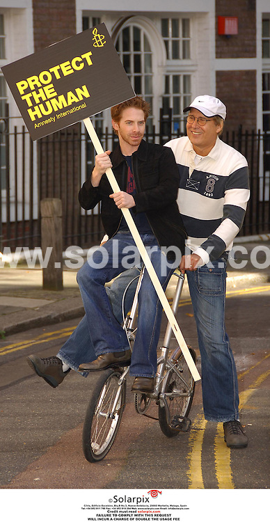 ALL ROUND  PICTURES BY SOLARPIX.COM.MUST CREDIT SOLARPIX.COM OR DOUBLE FEE WILL BE CHARGED.Seth Green and Chevy Chase were spotted today (Friday 13th Oct 2006) campaigning on a pedal bike in Londons West End to save the humans. The pictures were a stunt to publicize The Secret Policemans Ball which takes place on Saturday 14 October at the Royal Albert Hall. JOB REF: 2912 MSR.