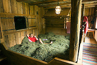 Bad Kleinkirchheim, Nockberge National Park, Kaernten, Carinthia, Austria, June 2009.  Jillian relaxes in her hay bed. The hay bed is an initiative by a farmers wife who loved to sleep in the hay as a child. The ancient Nock mountains of southern Austria offer great hiking possibilities. Photo by Frits Meyst/Adventure4ever.com