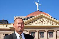 Phoenix, Arizona (March 16, 2014) -- Senator Steve Gallardo standing in front of the Arizona State Capitol in Phoenix, Arizona. Photo Eduardo Barraza © 2014