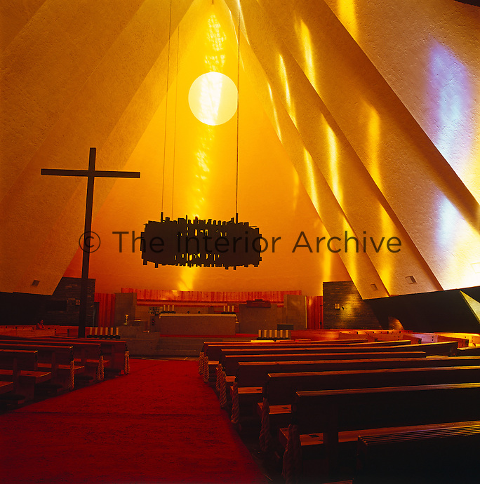 The tent-like interior of a contemporary church in Mexico