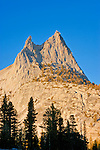 Evening light on Cathedral Peak from upper Cathedral Lake, Yosemite National Park, California