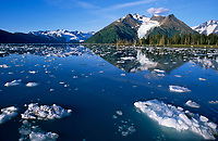 Cataract glacier and floating icebergs in Harriman fjord, Prince William Sound, Alaska