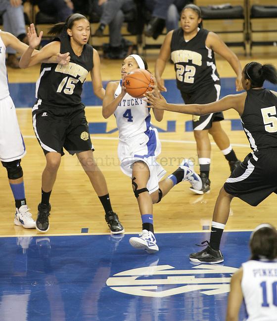 UK's Keyla Snowden drives to the basket against Arkansas Pine-Bluff at Memorial Coliseum on Sunday, Dec. 11, 2011. Photo by Scott Hannigan | Staff