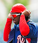 16 March 2009: Washington Nationals' outfielder Lastings Milledge awaits his turn in the batting cage prior to a Spring Training game against the Florida Marlins at Roger Dean Stadium in Jupiter, Florida. The Nationals defeated the Marlins 3-1 in the Grapefruit League matchup. Mandatory Photo Credit: Ed Wolfstein Photo
