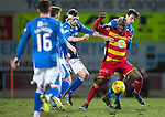 St Johnstone v Partick Thistle&hellip;02.03.16  SPFL McDiarmid Park, Perth<br />Mathias Pogba holds off Joe Shaughnessy and Murray Davidson<br />Picture by Graeme Hart.<br />Copyright Perthshire Picture Agency<br />Tel: 01738 623350  Mobile: 07990 594431