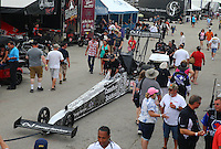 Apr 26, 2015; Baytown, TX, USA; NHRA top fuel driver Larry Dixon hooked up to his tow vehicle during the Spring Nationals at Royal Purple Raceway. Mandatory Credit: Mark J. Rebilas-