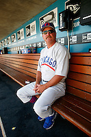 4 May 2011: Cubs pitching coach Mark Riggins remembers wearing these old style jerseys back in the old days.  The Cubs defeated the Dodgers 5-1 during a Major League Baseball game at Dodger Stadium in Los Angeles, California.  Dodgers players are wearing Brooklyn Dodger 1940's throwback jersey uniforms and the Chicago Cubs are also wearing throwback retro jersey uniforms. **Editorial Use Only**