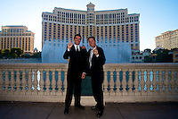 2011 Grand-Am Rolex Champions Memo Rojas, left, and Scott Pruett pose in front of The Bellagio in Las Vegas, NV before the annual Grand-Am Champions Banquet, September 26, 2011.  (Photo by Brian Cleary/www.bcpix.com)