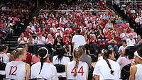 STANFORD, CA - February 22, 2015: Stanford Cardinal vs the California Golden Bears at Maples Pavilion.  The Golden Bears defeated the Cardinal 63-53.