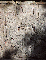 Quetzalcaan emerging from the jaws of a serpent, Platform of Venus, Toltec Architecture, 1100-1300 AD, Chichen Itza, Yucatan, Mexico. Picture by Manuel Cohen