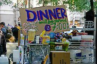 """Dinner will be served at 7pm"" at the Occupy Wall Street Protest in New York City October 6, 2011."