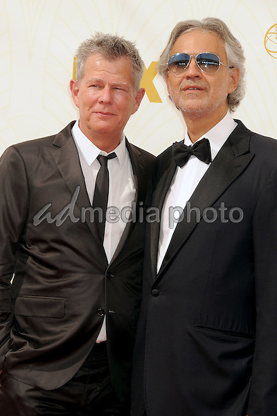 20 September 2015 - Los Angeles, California - David Foster, Andrea Bocelli. 67th Annual Primetime Emmy Awards - Arrivals held at Microsoft Theater. Photo Credit: Byron Purvis/AdMedia