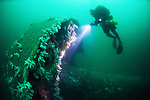 Divers on the Sovereign class battleship HMS Empress of India which now lies in 45 metres of water in Lyme Bay, England