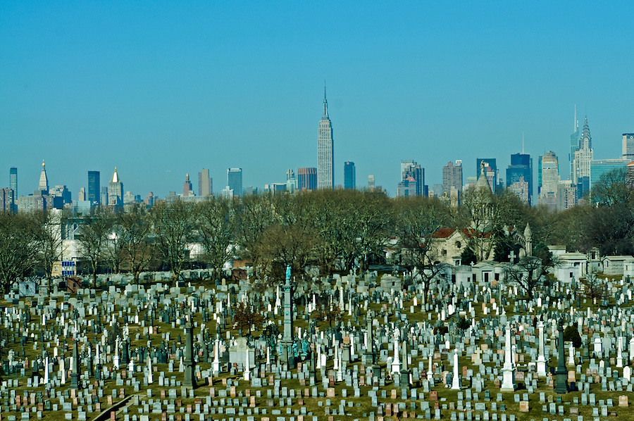 Calvary Cemetery, Queens and Manhattan Skyline , New York City, NY