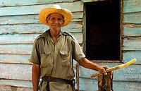 Old farmer man cutting sugar cane in front of old green house near Trinidad Cuba