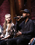 "Eliza Ohman and Donald Webber from the 'Hamilton' cast during a Q & A before The Rockefeller Foundation and The Gilder Lehrman Institute of American History sponsored High School student #EduHam matinee performance of ""Hamilton"" at the Richard Rodgers Theatre on 5/10/2017 in New York City."