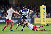 Semesa Rokoduguni of Bath Rugby takes on the Harlequins defence. Aviva Premiership match, between Bath Rugby and Harlequins on February 18, 2017 at the Recreation Ground in Bath, England. Photo by: Patrick Khachfe / Onside Images
