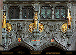 Basilica of the Holy Blood Facade Detail, 12th-15th century, Sculptures and Reliefs of Dukes and Duchesses of Flanders, Burg Square, Bruges, Brugge, Belgium