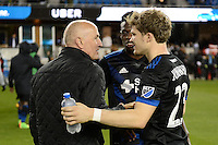 San Jose, CA - Saturday, March 04, 2017: Dominic Kinnear, Florian Jungwirth after a Major League Soccer (MLS) match between the San Jose Earthquakes and the Montreal Impact at Avaya Stadium.