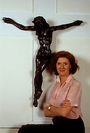 Manhattan, New York City - May 2, 1984<br /> Picture of English born Artist Edwina Sandys with her sculpture, Christa. Christa is the first representation of a female Christ on a cross. Edwina Sandys (born December 22, 1938), granddaughter of Sir Winston Churchill, first displayed this art piece in London in 1975.