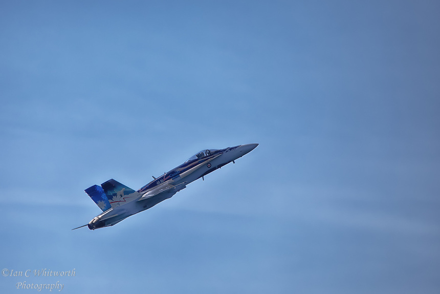 """The """"True North Strong and Free"""" CF-18 Hornet at the Canadian International Air Show in Toronto."""