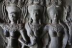 Apsara bas-reliefs at Angkor Wat, Cambodia. June 7, 2013.