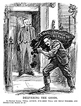 """Delivering the Goods. Sir Herbert Samuel. """"Well, anyhow, it's been well and truly weighed, and there's no slack in it."""" (cartoon showing Herbert Samuel as a coal delivery man at Prime Minister Stanley Baldwin's 10 Downing Street doorstep with a bag of the Coal Commission Report during the InterWar era)"""