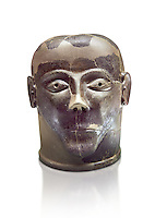 6th century B.C clay head made in Chiusi, inv 94619, National Archaeological Museum Florence, Italy , white background