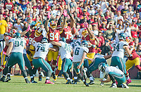 Philadelphia Eagles kicker Caleb Sturgis (6) kicks a third quarter field goal against the Washington Redskins at FedEx Field in Landover, Maryland on Sunday, October 16, 2016.  The Redskins won the game 27 - 20.<br /> Credit: Ron Sachs / CNP /MediaPunch