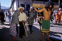 jesus´crucifiction is re-enacted for holy week (Semana Santa) in Erongaricuaro, Michoacan, Mexico
