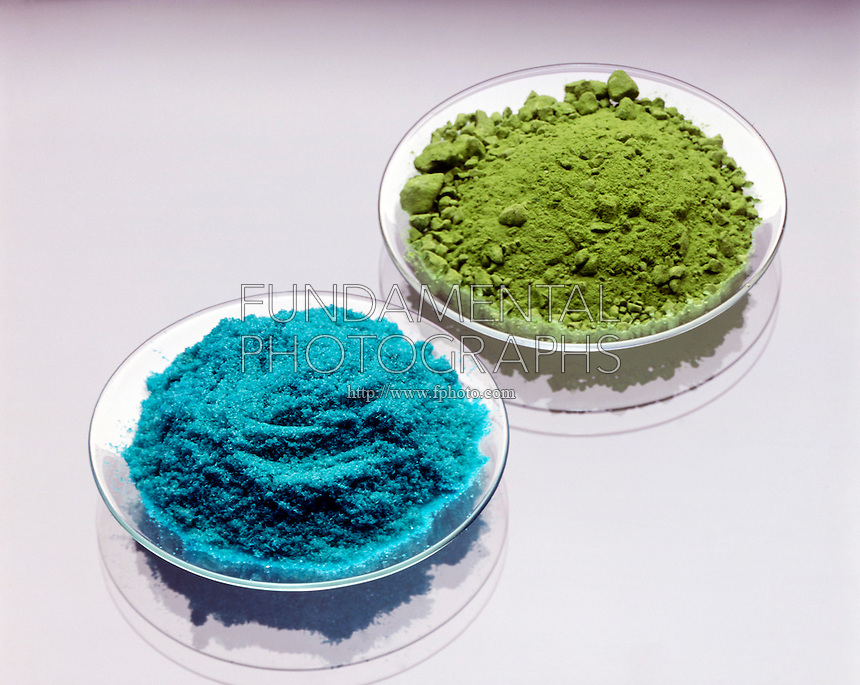 CUPRIC CHLORIDE (blue) &amp; CUPROUS CHLORIDE (green)<br /> Copper Forms Two Compounds With Chlorine: Copper I Chloride (Cuprous -green) &amp; Copper II Chloride (Cupric -blue)<br /> Cuprous chloride is a white crystal that converts to a green oxygenated compound.