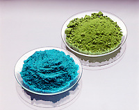 CUPRIC CHLORIDE (blue) &amp; CUPROUS CHLORIDE (green)<br />