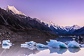 Sunrise over Tasman Glacier Lake, New Zealand