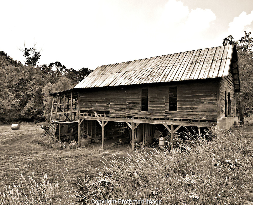 """While staying at the Grove Park Inn, we took a mystery ride through some of the small towns near Asheville, we hit a """"honey hole"""" of old barns near Burnsville, NC. Notice that I also have this shot in color. Which do you like best."""
