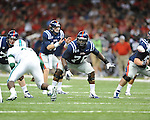 Ole Miss offensive lineman A.J. Hawkins (76) vs. Tulane in the first half at the Mercedes-Benz Superdone in New Orleans, La. on Saturday, September 22, 2012. Ole Miss won 39-0...