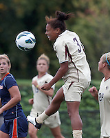 Boston College defender Casey Morrison (3) heads the ball. Pepperdine University defeated Boston College,1-0, at Soldiers Field Soccer Stadium, on September 29, 2012.